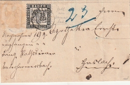 Baden / Brief Mit Mi. 17 (weitere Marke Abgefallen), K2 ZELL (BD35) - Bade