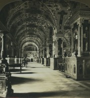 Rome Vatican Bibliothéque Ancienne Photo Stereo Stereoscope White 1900 - Stereoscopic