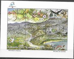 COLOMBIA, 1989, MNH, PHILEXFRANCE, BIRDS, FISH, FRUIT, MOUNTAINS, WATERFALLS, YVERT. 789-795, SHEETLET - Andere