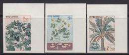 CAMBODIA (1965) Cotton. Peanut. Coconut Palm. Set Of 3 Corner Imperforates. Scott Nos 149-151 - Cambodja