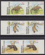 CONGO (1984) Pangolin. Bat. Civet Cat. Set Of 3 Imperforate Pairs. Scott Nos 720-2, Yvert Nos 711a-c. - Congo - Brazzaville