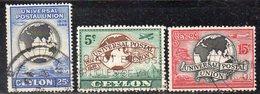 T1091 - CEYLON 1949 , Yvert N. 277/279  Usato  (2380A)  Upu - Ceylon (...-1947)