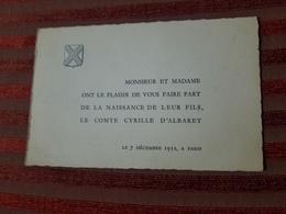Noblesse Genealogie Faire Part Naissance Le Comte Cyrille D'Albaret Paris 7/12/1952 - Birth & Baptism