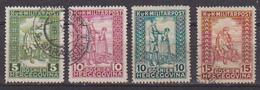 BOSNIA EZERGOVINA  1916-18  PRO MUTILATI DI GUERRA UNIF. 93-96 USATA VF - Bosnia Herzegovina