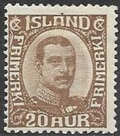 Iceland   1922  Sc#119   20aur  MH  2016 Scott Value $65 - Nuovi