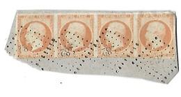 FRANCE - Napolèon III - Empire Franc - N°16  - 40 C Orange - Bande De 4 Sur Fragment De Lettre - 1853-1860 Napoleon III