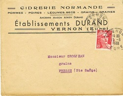 ENVELOPPE  A EN-TETE CIDRERIE NORMANDE DURAND VERNON EURE - 1921-1960: Modern Tijdperk