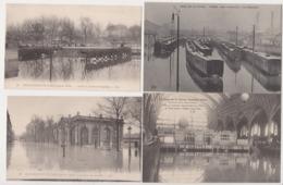 27988 Lot Cpa 4 PARIS Crue Crues Inondations SEINE PARIS 1910 Gare Austerlitz Train Wagon Orsay Intérieur Invalides - Gares - Avec Trains