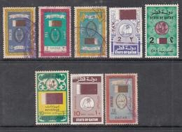 QATAR LOT OF 8 USED REVENUE FISCAL STAMPS 10R,10R,10R,15R,2R,2R,2RIYAL - Qatar