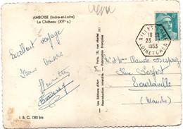 Rilly Sur Loire 1953 - Loir-et-Cher 41 - Hexagonal Agence Rurale Sur Gandon - Marcophilie (Lettres)