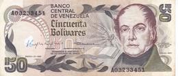 BILLETE DE VENEZUELA DE 50 BOLIVARES DEL AÑO 1981 SERIE A  (BANKNOTE) - Venezuela