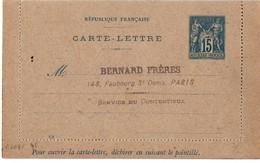 Carte-lettre Sage15 Cts Avec Date 788 - Sinais J 26 - Cote 10 € - Cachet Bernard Frères - Kartenbriefe