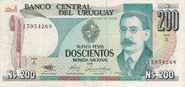 BILLETE DE URUGUAY DE 200 PESOS DEL AÑO 1986 CALIDAD MBC (VF) (BANKNOTE) - Uruguay