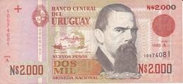 BILLETE DE URUGUAY DE 2000 PESOS DEL AÑO 1989  (BANKNOTE) - Uruguay