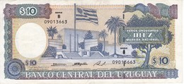 BILLETE DE URUGUAY DE 10 PESOS DEL AÑO 1995 SERIE B  (BANK NOTE) - Uruguay
