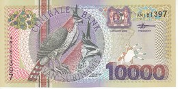 BILLETE DE SURINAM DE 10000 GULDEN DEL AÑO 2000  SIN CIRCULAR-UNCIRCULATED (PAJARO-BIRD) (BANKNOTE) - Suriname