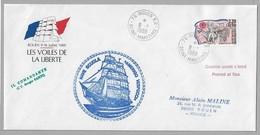 """Tir - Les VOILES De La LIBERTE - ROUEN - Enveloppe Du 9.7.1989 Avec LOGO Officiel - Superbe Cachet """" AMERIGO VESPUCCI """" - Postmark Collection (Covers)"""