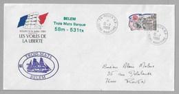 """Tir - Les VOILES De La LIBERTE - ROUEN - Enveloppe Du 10.7.1989 Avec LOGO Officiel - Superbes Cachets """" BELEM """" - Poststempel (Briefe)"""