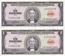 PAREJA CORRELATIVA DE LA REPUBLICA DOMINICANA DE 1 PESO ORO DEL AÑO 1976 CALIDAD EBC (XF) (BANKNOTE) - Dominicana