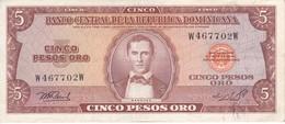 BILLETE DE LA REPUBLICA DOMINICANA DE 5 PESOS ORO DEL AÑO 1976 CALIDAD EBC (XF)  (BANKNOTE) - Dominicana