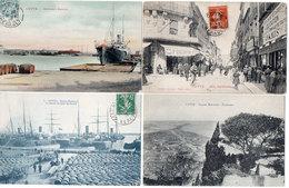 CETTE (SETE) 4 CPA - Panorama - Rue Gambetta - Quai Du Goulet - Nouveau Bassin   (705 ASO) - Sete (Cette)