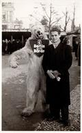 Photo Originale Eisbär - Déguisement D'Ours Blanc Polaire Sur Berlin & Jeune Homme En 1948 - Bär-Lin - Mascotte - Anonieme Personen