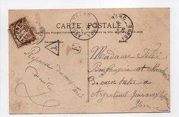 - Carte Postale ANCY-LE-FRANC Pour ARGENTEUIL 1906 - TAXÉE 10 C. Brun Type Duval - - 1859-1955 Brieven & Documenten