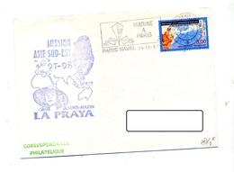 Lettre  Flamme Paris Naval Marine + Sous-marin La Praya Tigre - Mechanical Postmarks (Advertisement)