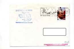 Lettre  Flamme Porte Avion Jules Verne + Sous-marin La Praya Lesseps - Mechanical Postmarks (Advertisement)