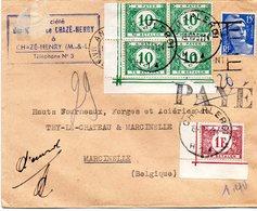 Lettre De France Taxée 1,40 F à Charleroi Avec TX33 En Bloc De 4 Coin De Feuille Et TX43 Coin De Feuille - Portomarken