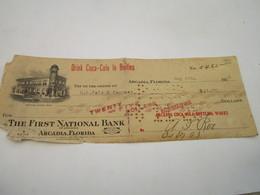 Drink COCA-COLA In Bottles, ARCADIA FORIDA - Titre De Paiement à R.L.Polk & Company De 25$ - Chèques & Chèques De Voyage