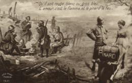 D 9866 - Personnages Militaires Et Jeune Femme  Et Fût  Tonneau De Vin  Inscrit Pinard - Characters