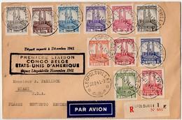 Congo - 1941- Lettre Rec Avion Miami Usa Clipper - Leopoldville 1 - Serie Complete Monument Roi Albert - ZT1 - 1923-44: Briefe U. Dokumente