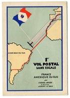 RC 17301 FRANCE 1935 CARTE AIR FRANCE 1er VOL SANS ESCALE FRANCE - AMÉRIQUE DU SUD PAR CODOS ROSSI - NEUVE - Marcophilie (Lettres)