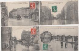 27996 Lot 4 Cpa ASNIERES Crue Crues Inondations SEINE 1910 Léon Peltier Fossé Aumone Voltaire Deux Voutes Paris - Asnieres Sur Seine