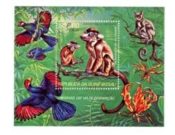 Guinée Bisssau 1978-Animaux En Voie De Disparition-singe,oiseaux,Orchidée   YT B14***MNH - Scimmie