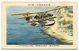 RC 17315 FRANCE CARTE PUBLICITAIRE AIR FRANCE REPRÉSENTANT UN HYDRAVION BREGUET SAIGON ANNÉE 30  - NEUVE - Marcophilie (Lettres)
