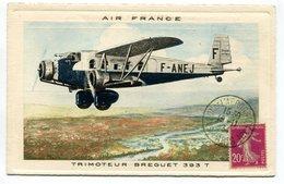RC 17316 FRANCE 1934 CARTE PUBLICITAIRE AIR FRANCE REPRÉSENTANT UN AVION TRIMOTEUR BREGUET OBL SALON DE L AERONAUTIQUE - Luftpost