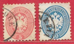 Lombardie-Vénétie N°25 5s Rose & N°26 10s Bleu (dentelé 9,5) 1864 O - Lombardo-Veneto