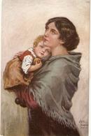 """Willi Scheuermann. Mother Holding Daughter With Apple. Vaterlos"" Fine Painting, Vintage German Postcard - Women"