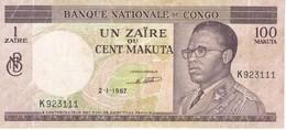 BILLETE DE EL CONGO DE 100 MAKUTA DEL AÑO 1967 (BANKNOTE) - Congo