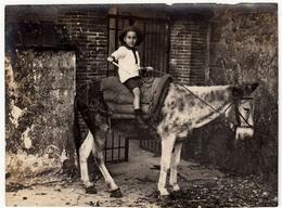 VECCHIA FOTOGRAFIA - OLD PHOTO - BAMBINO SU ASINO - Vedi Retro - Persone Anonimi