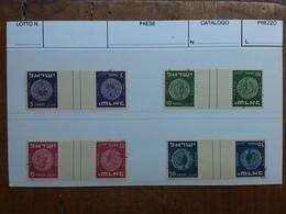 ISRAELE 1949 - Antiche Monete Nn. 22B/25B Tête-bêche Con Ponte - Timbrati + Spese Postali - Israele