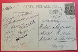 Carte Avec Cachet Convoyeur GIROMAGNY A BELFORT - 1921-1960: Periodo Moderno