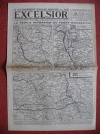Journal EXCELSIOR 28 Septembre 1918 La Triple Offensive LENS VIMY SAINT QUENTIN ARLEUX MARQUION MARCOING VARENNES YPRES - 1914-18