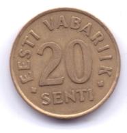 EESTI 1992: 20 Senti, KM 23 - Estonia