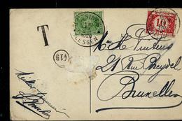 Carte-vue (Lessines - Grand'Place) Obl. Lessines-Lessen 19/08/1920  - Taxé  Bruxelles  Avec TX27 - Taxes