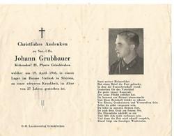 Sterbebild ,carte De Décès Unteroffizier Infirmier , Camp De Prisonniers 1946 : SIBERIE . DEATH CARD - 1939-45