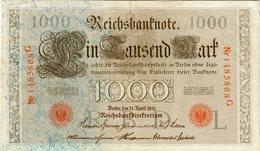 Allemagne Germany 1000 Mark 21 April 1910 Rouge 7 Chiffres P44e - [ 2] 1871-1918 : German Empire