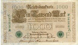 Allemagne Germany 1000 Mark 21 April 1910 (1918 - 1923) Vert 7 Chiffres P45b - [ 2] 1871-1918 : German Empire